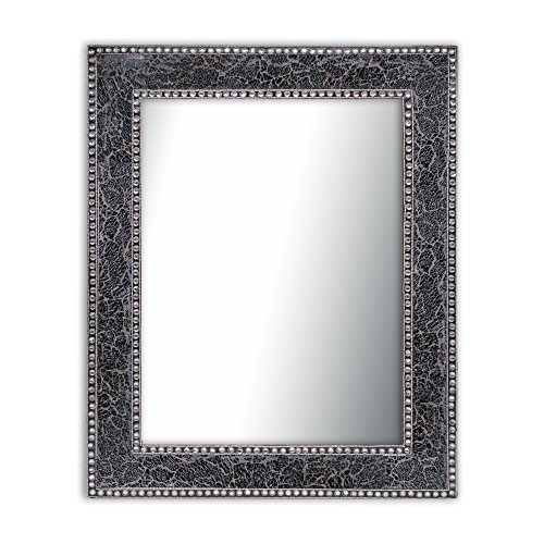 Black/Gray Crackled Glass Decorative Wall Mirror - 30X24 Mosaic Glass Wall Mirror, -