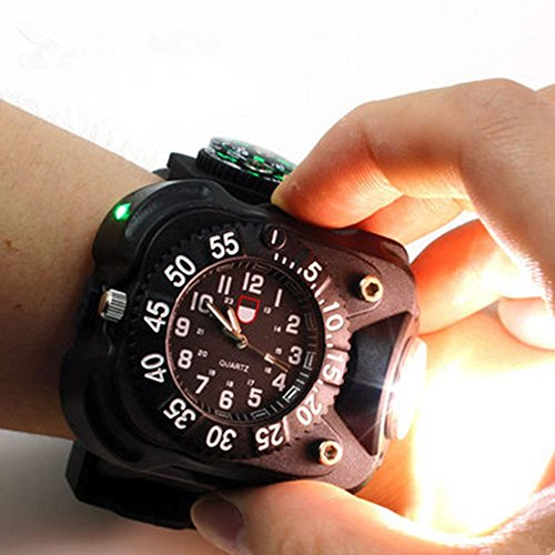 Cheap Rechargeable 350 Lumens Led Torch Wrist Light, WaterproofSport Watch Flashlightwith Compass Tactical Flashlights for Running, Hiking, Camping, Biking,Climbing for Birthday Gift (Classic Black)