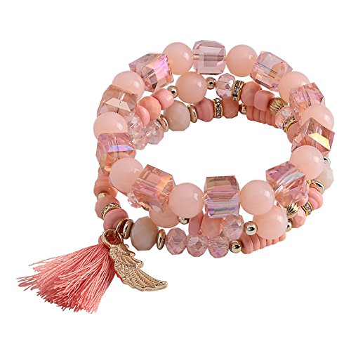 Price comparison product image Aokarry Tassel Bracelets for Women Angle Wing Acrylic Beads Elastic Leisure Style Pink