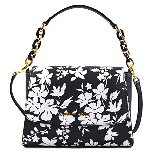 Michael Kors Sofia Small East West Saffiano Leather Satchel Crossbody Bag in Navy/White Floral
