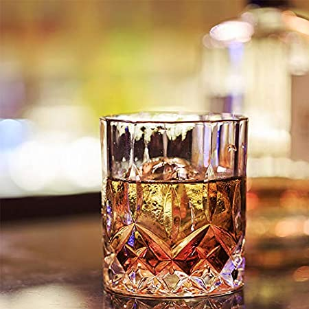 MINGZE Vasos de Whisky Lujoso, 275ML Vaso Whisky Claridad Vidrio Accesorios de Vino, para Bar Beber Borbón, Cócteles, Whisky, Vodka, Juice, Cocktail (Juego de 4 Lujo, 210ML)