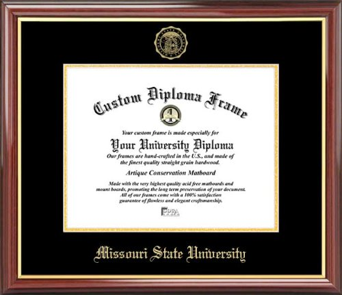 - Laminated Visuals Missouri State University Bears - Embossed Seal - Mahogany Gold Trim - Diploma Frame
