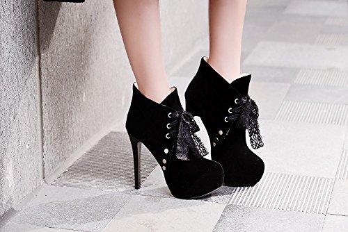 Mee Shoes Damen Nubukleder runde Plateau high heels Ankle Boots Schwarz