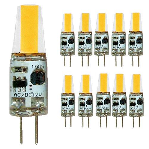 (NOVESTE G4 COB LED Bulb, 2W (25W Halogen Equivalent), 180 LM, 3000K Warm White, AC/DC 12V, 10-Pack)