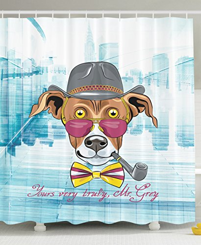 Hipster Greyhound Dog Hat Glasses Bow Tie Tobacco Pipe Dog Cute Puppy Detective Style Skyline Cartoon Pattern Lover Decor Dreamy Bathroom Design Ideas Shower Curtain Teal White Brown Mauve (Carnivale Costume Ideas)