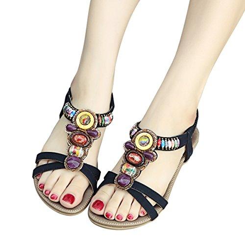 Été Noir Flat Pu Femmes Cuir Bohemia Chaussures Sandales Mode Zoerea SBEqH1