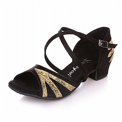 Negro de Zapato Baile Jazz de Zapatos Baile Transpirable Verano Baile Oro Tobillo Modern de Zapatos Latino Baile Inferior de Onecolor de de BYLE Samba Zapatos Cuero los Suave Sandalias Sqw454