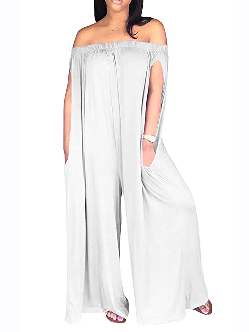 6ccd07ffb129 Amazon.com  Sibylla Women s Sexy Off The Shoulder Oversized Plain Jumpsuit  Romper Loose Wide Leg Long Pants with Pocket  Clothing