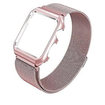 42MM Replacement Bracelet Stainless Steel Wrist Watchband for Apple iWatch Mesh Magnetic Adjustable Loop Strap Belt Metal Bumper Rose Gold