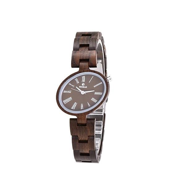 Reloj de madera natural reloj mujer correa de piel madera nogal madera, 1