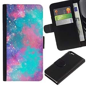 A-type (Sky Nebula Stars Universe Teal Purple) Colorida Impresión Funda Cuero Monedero Caja Bolsa Cubierta Caja Piel Card Slots Para Apple Apple (4.7 inches!!!) iPhone 6 / 6S