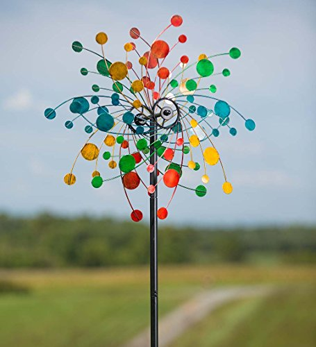 Plow & Hearth Wind & Weather Metal Confetti Wind Spinner, Kinetic Motion, Dual Motion