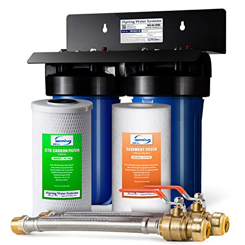 iSpring WGB21B 2-Stage Whole House Water Filtration System w/ 3/4 inch Push-Fit Braided Stainless Steel Hose Connectors and Ball Valve