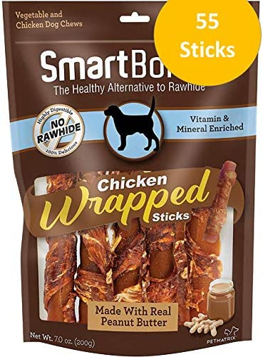 SmartBones Chicken Wrapped Sticks for Dogs, Rawhide Free Dog Chews, Real Chicken Dog Treats
