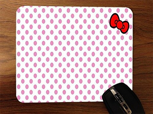 Hello Kitty Desktop - Pink Dots with Bow Desktop Office Silicone Mouse Pad