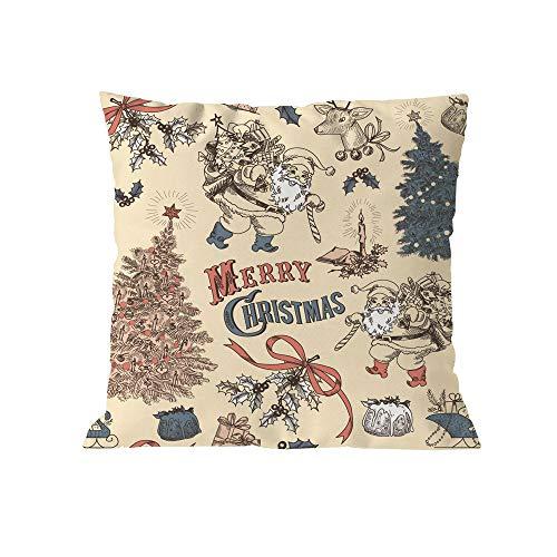 (Pausseo Christmas Pillowcase, Xmas Santa Claus Pillow Covers Cushion Sofa Waist Throw Pillowcase Home Decoration Office Car Bed Decor Wrinkle Resistant Hypoallergenic Pillowslip)