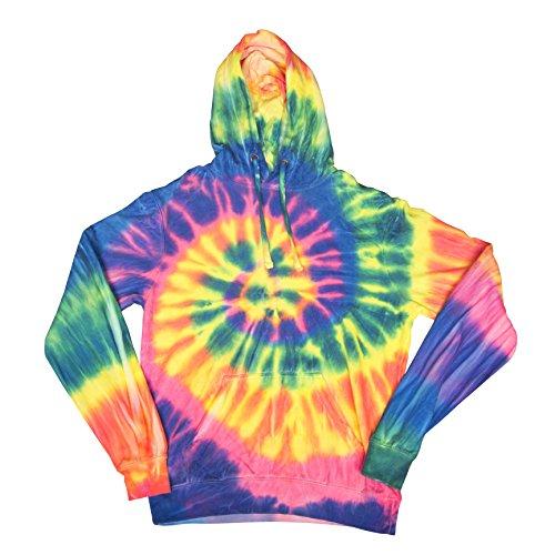 (Fluorescent Rainbow Swirly Spiral Unisex Adult Tie Dye Hoodie Hooded Sweatshirt)