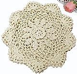 6PCS 8'' Round Crochet Lace Doily BEIGE 100% Cotton Handmade, Set of 6 Pieces