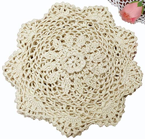 6PCS 8″ Round Crochet Lace Doily BEIGE 100% Cotton Handmade, Set of 6 Pieces For Sale