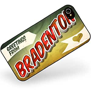 Rubber Case for iphone 4 4s Greetings from Bradenton, Vintage Postcard - Neonblond