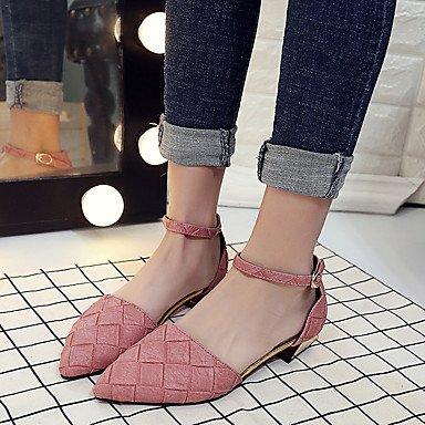 Tacones mujer Primavera Verano Zapatos Club Comfort bombear todo coincidencia casual vestido Temperamen Cobra Chunky talón hebilla rubor rosa verde gris US8 / EU39 / UK6 / CN39