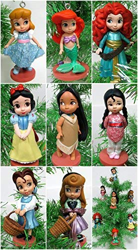 Disney Baby Animator Princess 8 Piece Christmas Tree Ornament Set Featuring Pocahontas, Cinderella, Snow White, Aurora, Mulan, Belle, Merida, Ariel, Snow White -