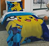 Pokemon Go Pikachu Twin Size Comforter and Sheet Set (4pc Bed in a Bag)
