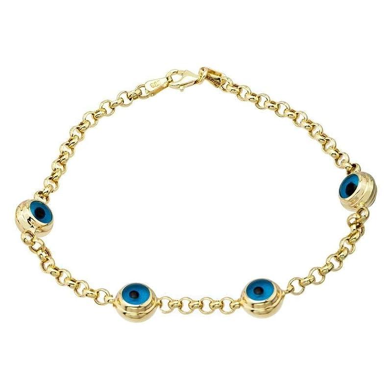 Evil Eye Chain Drop Bar Chain Gold Plated Chains EEC Evil Eye Bracelet Beaded Chains 4x6mm 24k Shiny Gold Evil Eye Chain BXB216