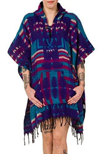 Blue ThaiUK Rose Aztec Poncho Femme nww7WOX