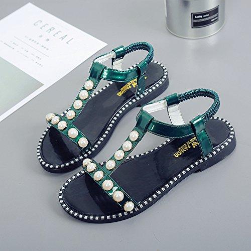 RUGAI-UE Sandalias planas de verano estudiante Zapatos Zapatos de moda patinaje puntera plana Green