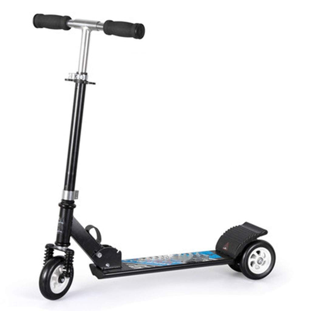 FDSjd Scooter King Scooter Folding Two Wheels Three Wheels Yo-Yo Beginner Big Boy Scooter (Color : Black, Edition : Three Rounds)
