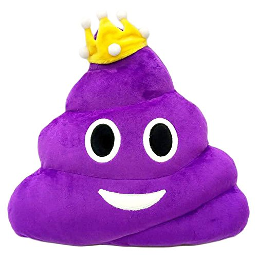 Purple Queen Poop Princess Emoji Pillow Emoticon Cushion Plush Toy