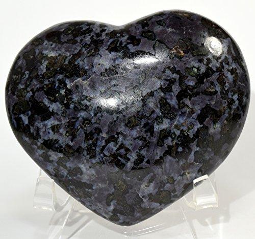 90mm Mystic Merlinite Indigo Gabbro Puffy Heart Blizzard Natural Mineral Polished Crystal Love Stone Heart - Madagascar + Acrylic Display Stand