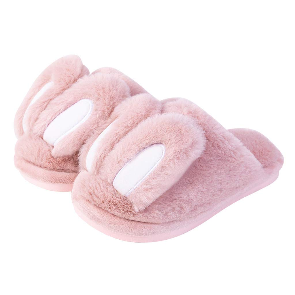 Lucoo Girl Boy's Cotton-Shaped Rabbit Ear Premium Soft Plush Slippers Cartoon Warm Winter House Shoes by Lucoo Baby Shoes