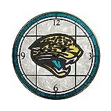 Jacksonville Jaguars 12 Inch Art Glass Clock
