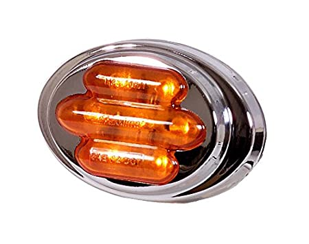 Maxxima M36180YCL Amber LED Clear Lens Mini Oval Clearance Marker Light with Stainless Steel Bezel