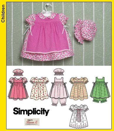 - OOP Simplicity Pattern 4709. Baby Girl's Szs NB; 1-3m; 6m; 12m; 18m Dress; Pinafore; Pantaloons; Panties; & Hat