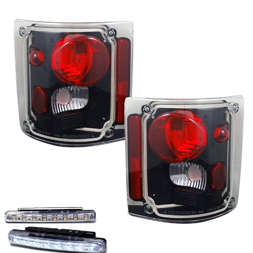 1973-1988 CHEVY C/K SERIES TRUCK REAR BRAKE TAIL LIGHT BLACK+LED BUMPER RUNNING