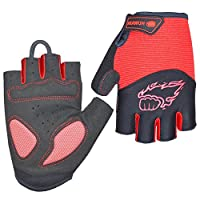 HuwaiH Cycling Gloves Mountain Bike Gloves Anti-slip Shock-absorbing Pad Biking Gloves Bicycle Road Racing Riding Gloves Half Finger Breathable Cycle Gloves For Men And Women