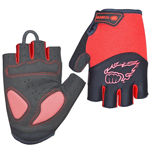 HuwaiH Cycling Gloves Mountain Bike Gloves Anti-Slip Shock-Absorbing Pad Biking Gloves Bicycle Road Racing Riding Gloves Half Finger Breathable Cycle Gloves for Men and Women (Red, Large)