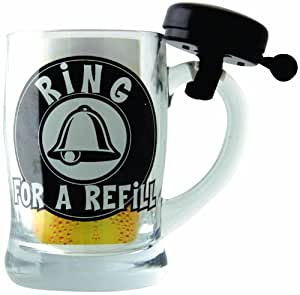 """Boxer - Jarra de cerveza con timbre en caja para regalo con texto """"Ring for Refill"""""""