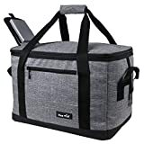 Hap Tim Soft Cooler Bag with Hard Liner 40-Can Large Reusable Grocery Bags Soft Sided Collapsible Travel Cooler for Outdoor Travel Hiking Beach Picnic BBQ Party(US13634-Grey)