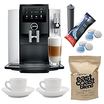 Jura S8, 15210 Moonlight Silver Includes Two Ceramic Espresso Cups, Jura Clearyl Smart Filter Cartridge, Jura Multi-Pack 2-Phase Cleaning Tablets and 1 Pound Whole Bean Coffee