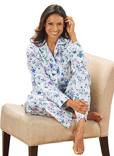Petite Flannel Pajamas (AmeriMark Women's Cozy Flannel Pajamas LG (14-16) / Ivory)
