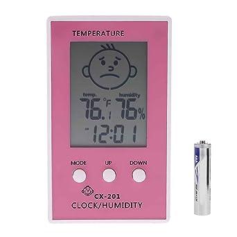 Uokoki CX-201 LCD digital termómetro higrómetro humedad del reloj del metro de la temperatura