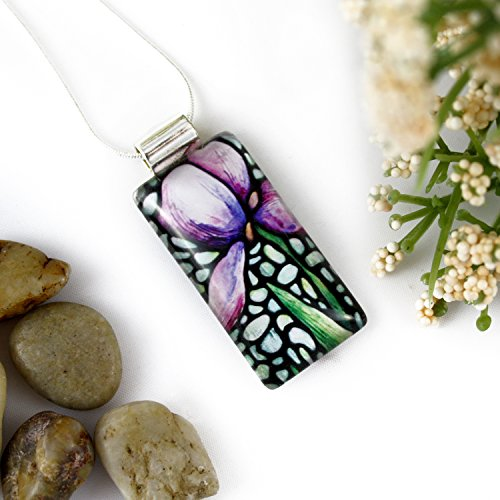 Purple Iris Flower Rectangle Glass Pendant