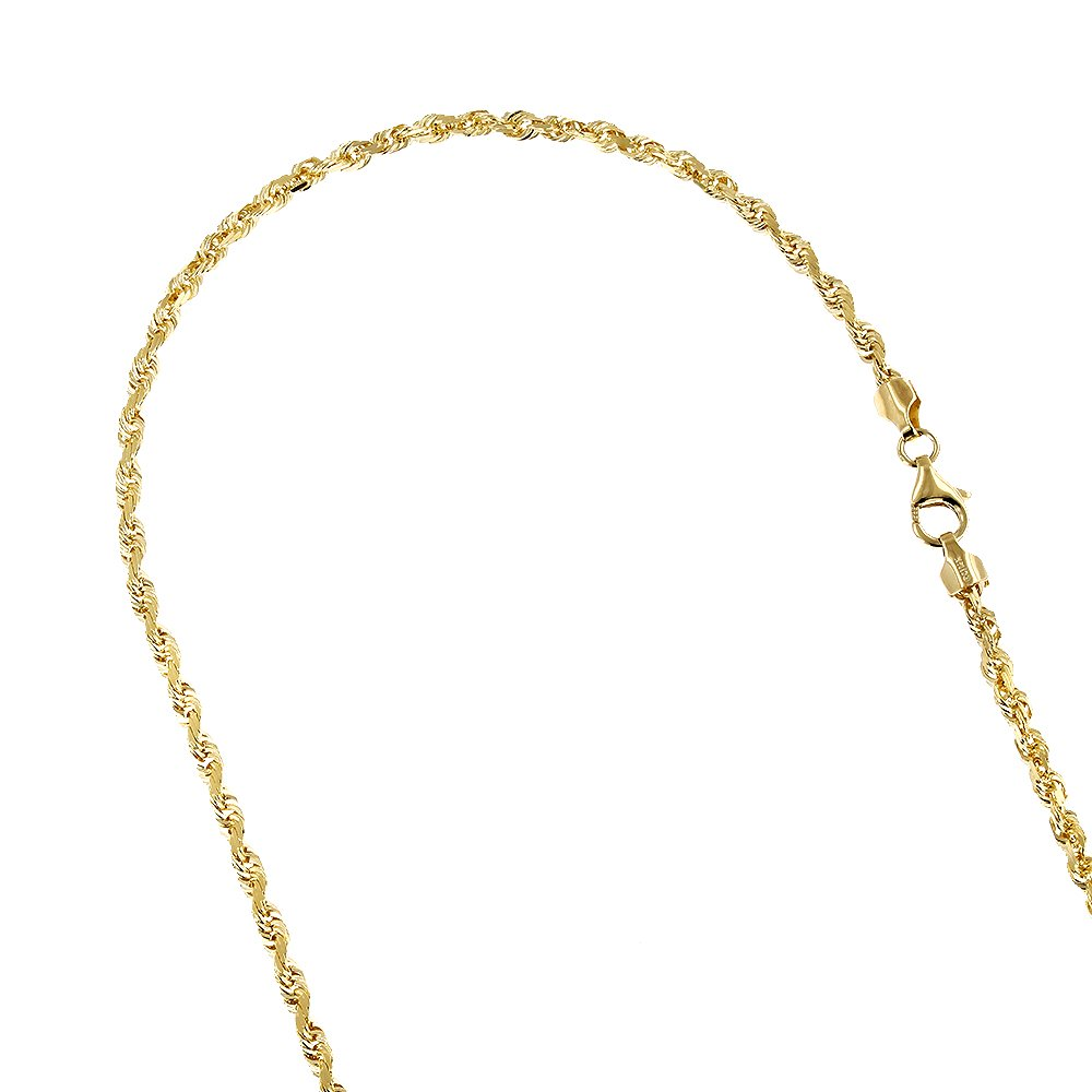 LUXURMAN Solid 10K Yellow Gold 2.5mm Rope Chain Diamond Cut Link Bracelet Anklet Lobster Clasp 9'' long