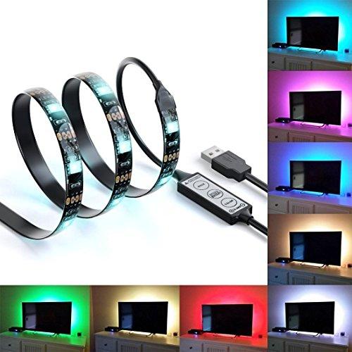 SGM Bias Lighting for HDTV USB LED Mood Backlight Strip Multi Color RGB LED Neon Accent Lighting Kit for Flat Screen TV LCD, Desktop PC - UPTO 42