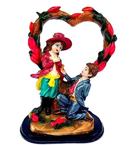 BS Handicrafts Stone Love Couple Heart Statue, 8 Inch, Multicolour