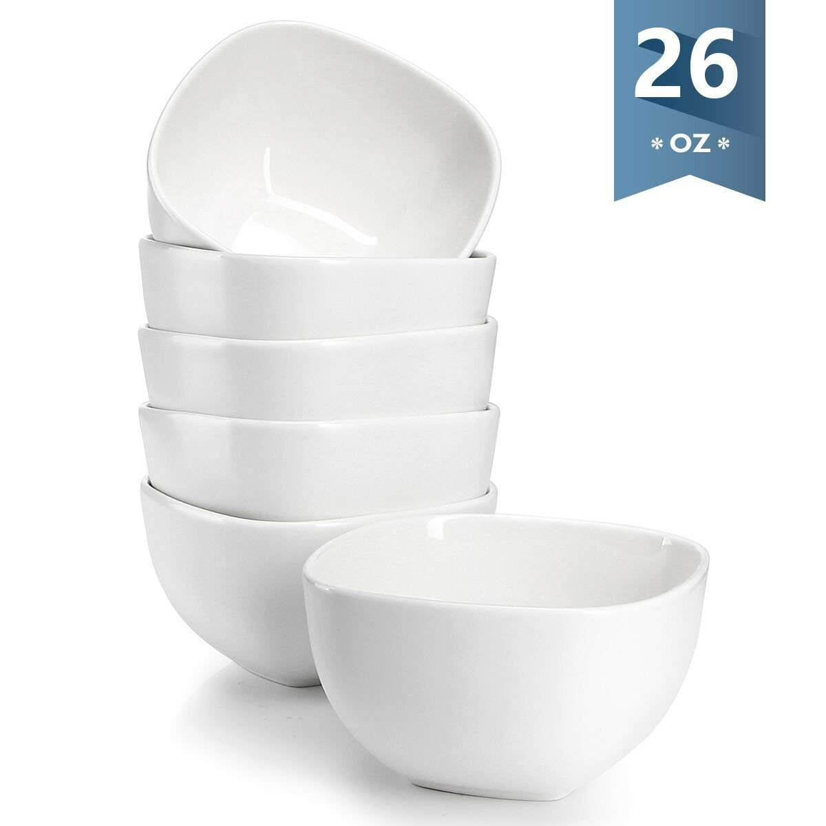 Sweese 1304 Porcelain Square Bowl Set - 26 Ounce Deep and Microwavable for Cereal, Soup and Fruit - Set of 6, White